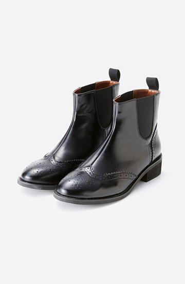 haco! メンズライクなサイドゴアウィングチップブーツ <ブラック>の商品写真