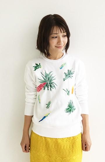haco! てとひとて SAWAKO NINOMIYA Where? Wear airplants オリジナル1点もの手刺繍ホワイトスウェット <ホワイト>の商品写真