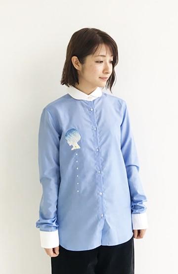 haco! てとひとて SAWAKO NINOMIYA 【雨にして君を想う】手刺繍シャツ <ブルー>の商品写真