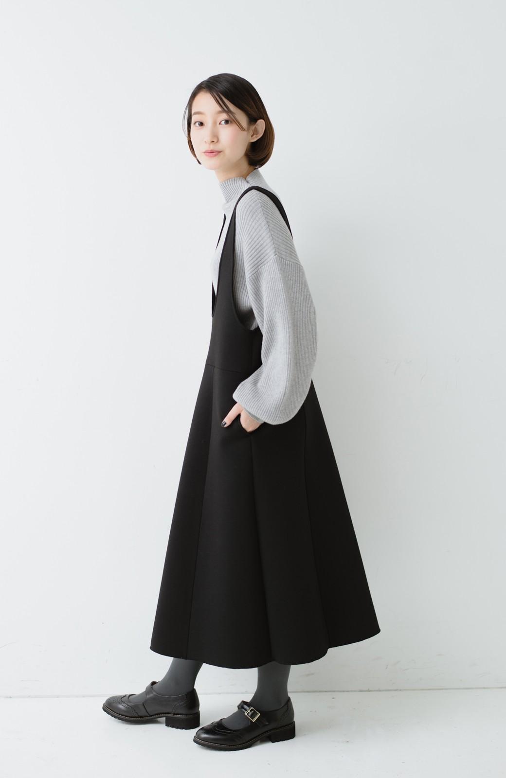 haco! ふんわり感がレトロ可愛い フレアージャンパースカート <ブラック>の商品写真1