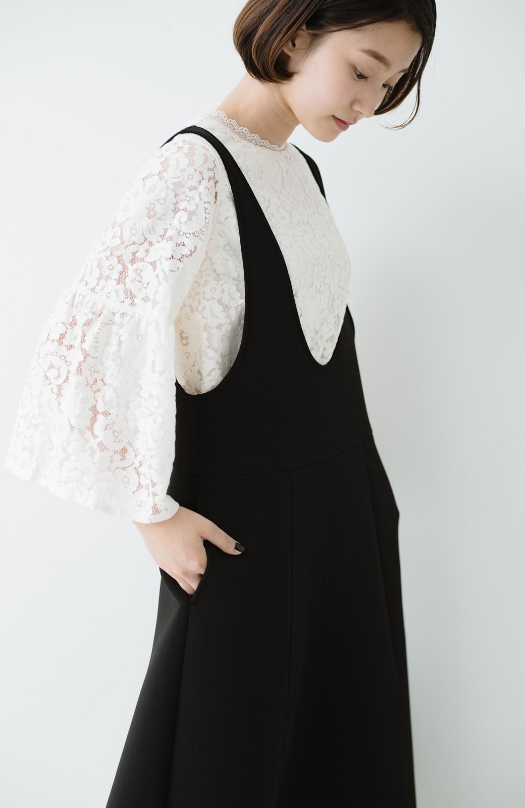 haco! ふんわり感がレトロ可愛い フレアージャンパースカート <ブラック>の商品写真19