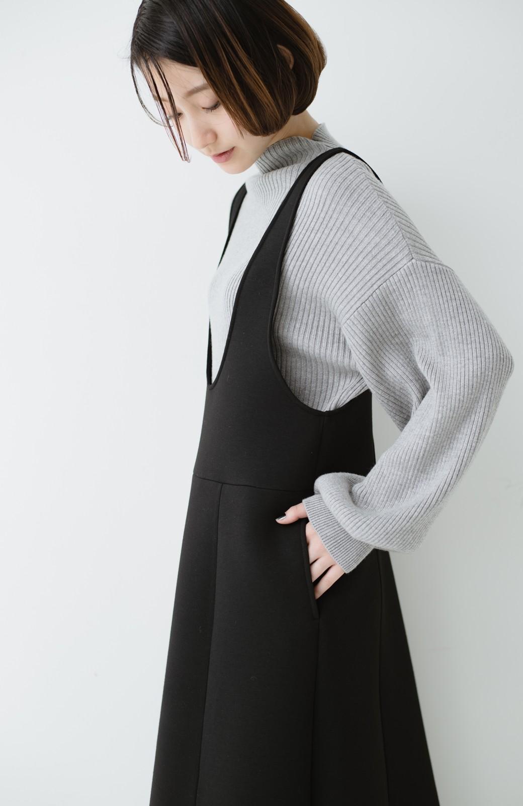 haco! ふんわり感がレトロ可愛い フレアージャンパースカート <ブラック>の商品写真16