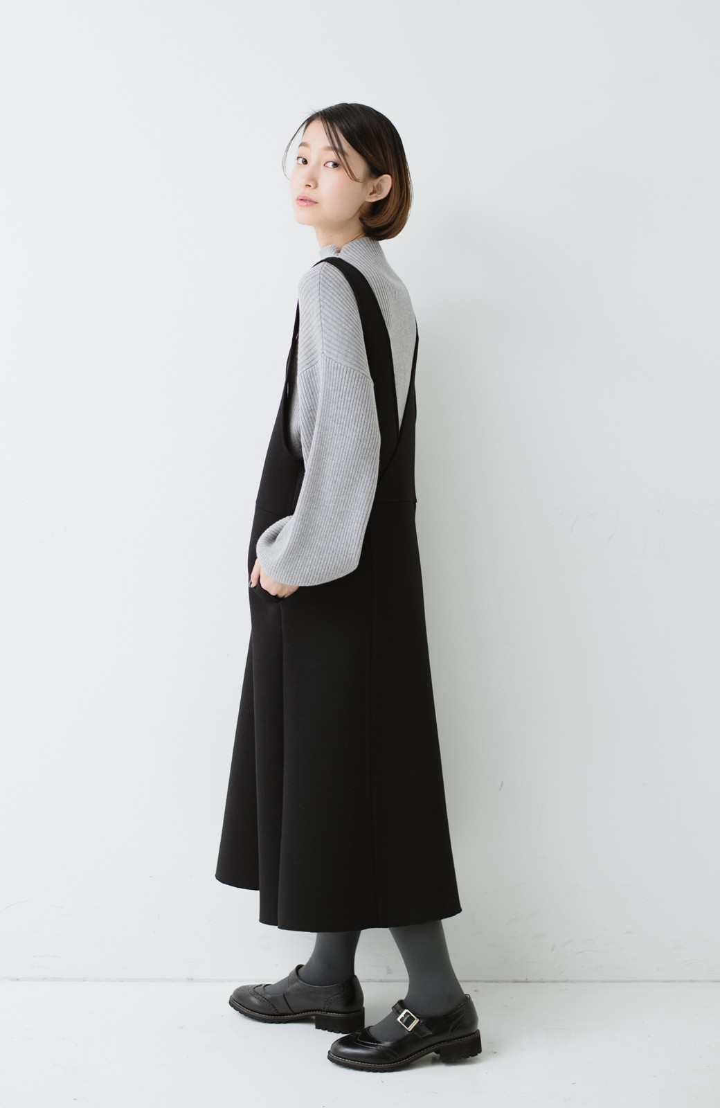 haco! ふんわり感がレトロ可愛い フレアージャンパースカート <ブラック>の商品写真8