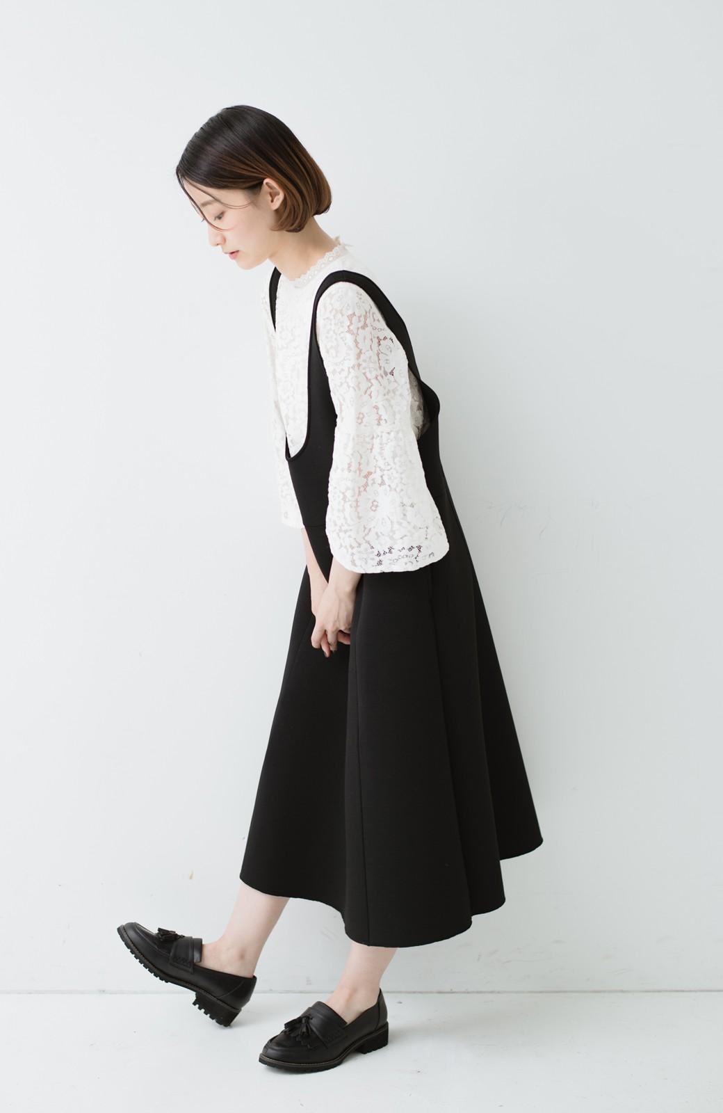haco! ふんわり感がレトロ可愛い フレアージャンパースカート <ブラック>の商品写真9