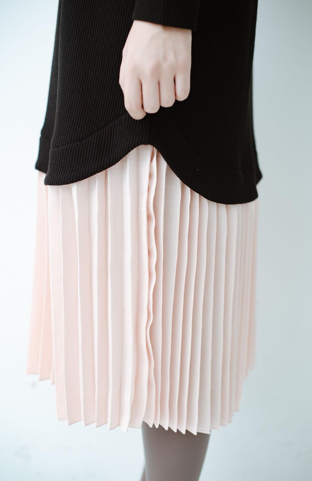haco! プリーツスカートを重ね着したようなドッキングロングワンピース <ブラック>の商品写真3