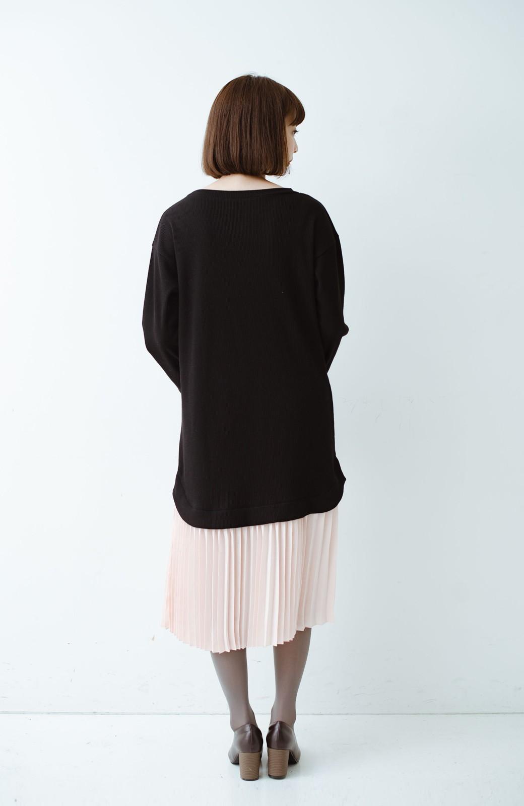 haco! プリーツスカートを重ね着したようなドッキングロングワンピース <ブラック>の商品写真7