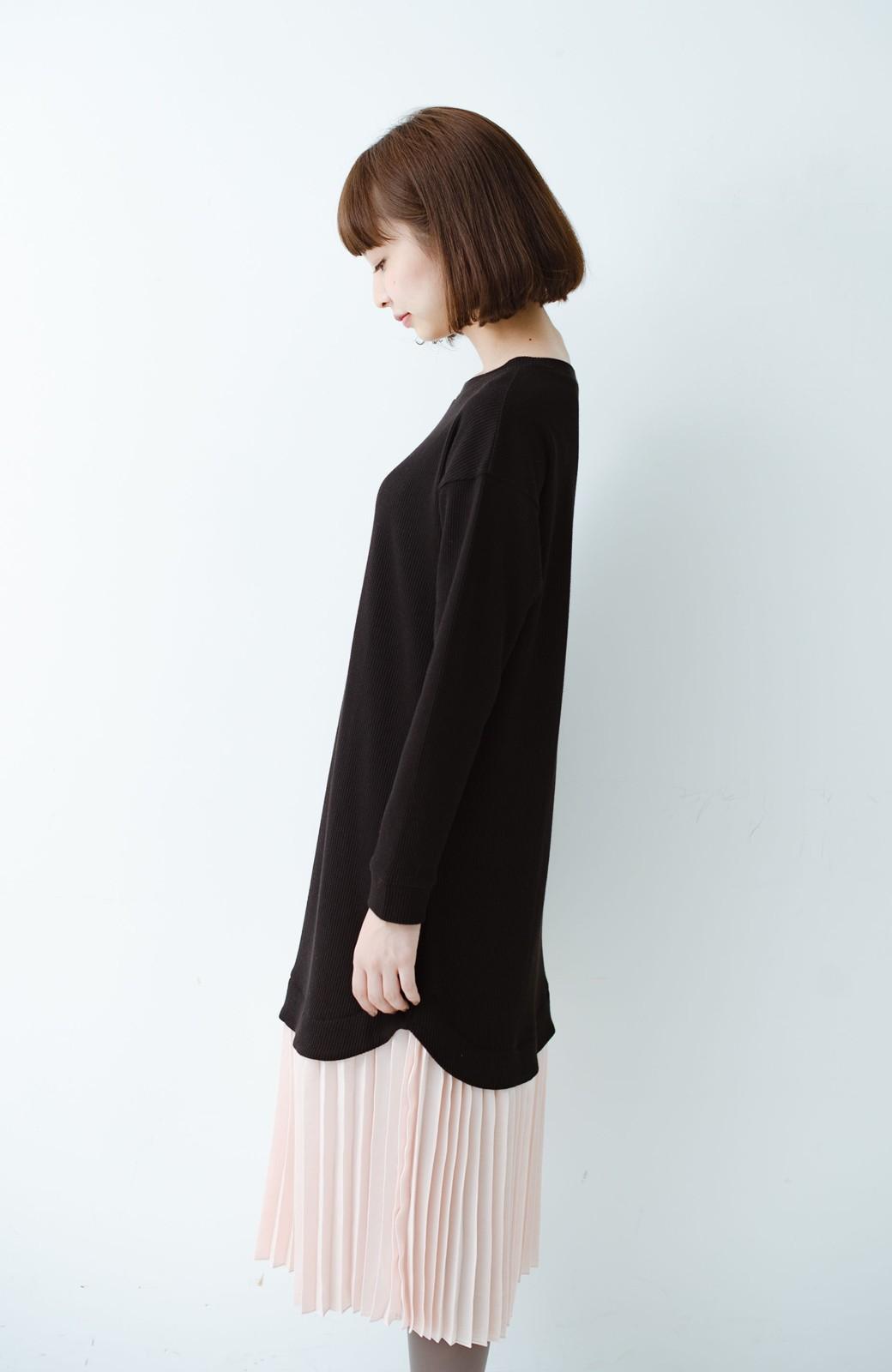 haco! プリーツスカートを重ね着したようなドッキングロングワンピース <ブラック>の商品写真8
