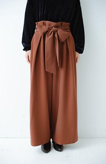 haco! スカート気分ではきたい ウエストリボンのボリュームパンツ <ブラウン>の商品写真