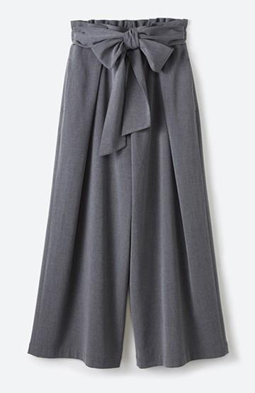 haco! スカート気分ではきたい ウエストリボンのボリュームパンツ <グレー>の商品写真