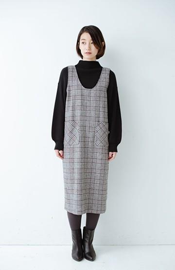 haco! らくちんなのによそ行き見え グレンチェックのジャンパースカート <ホワイト×ブラック>の商品写真