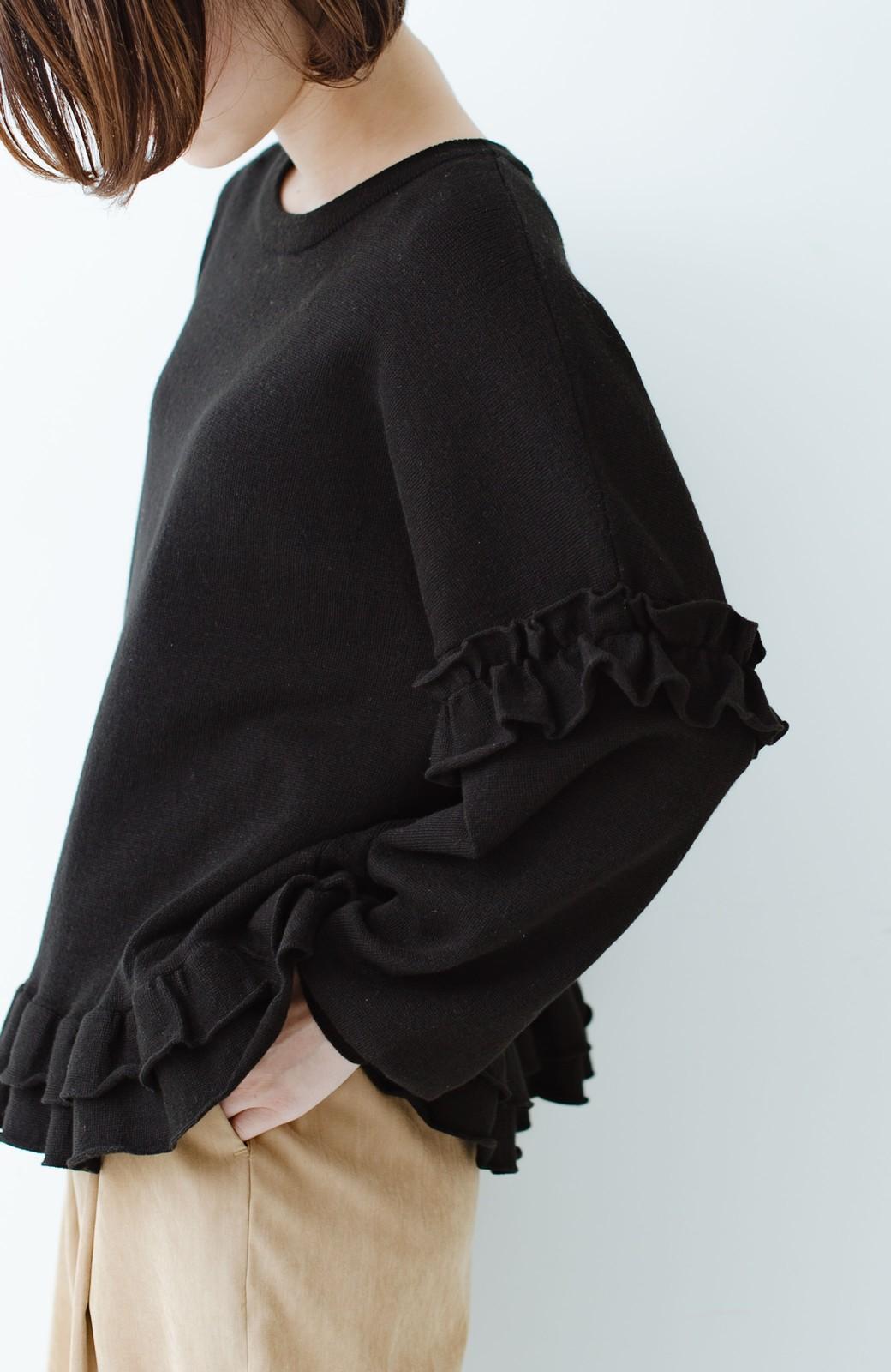 haco! 大人女子のためのハーフミラノリブフリルニット <ブラック>の商品写真5