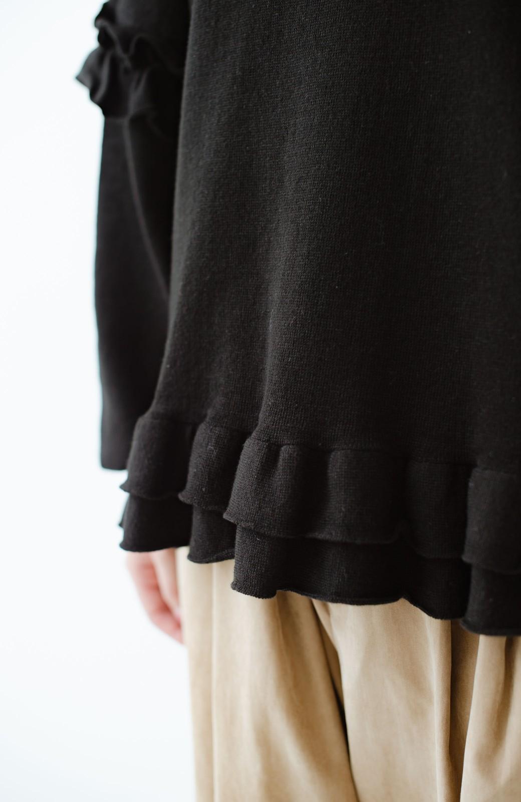 haco! 大人女子のためのハーフミラノリブフリルニット <ブラック>の商品写真7