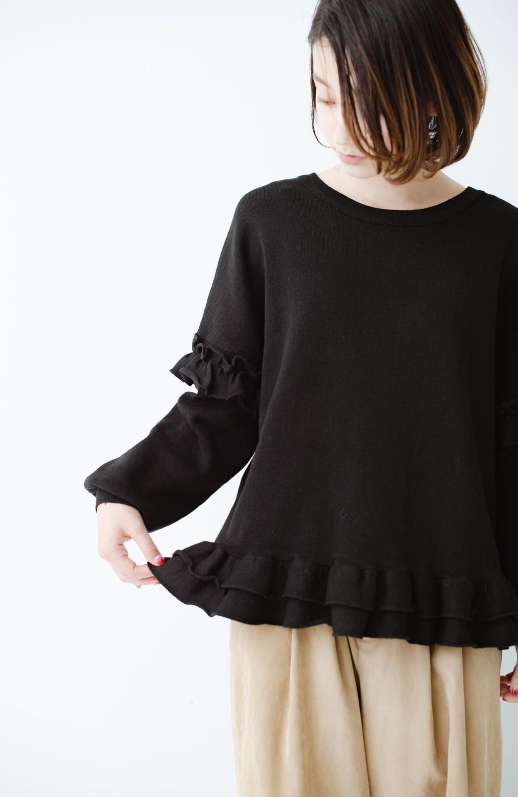 haco! 大人女子のためのハーフミラノリブフリルニット <ブラック>の商品写真10
