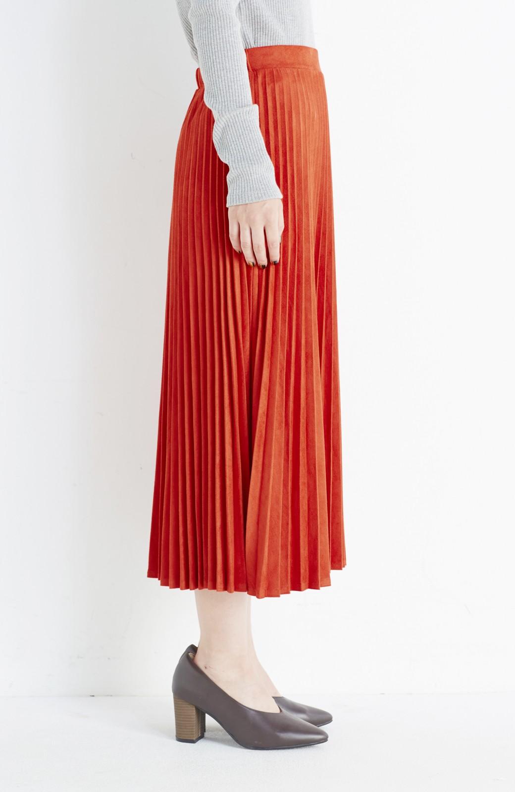 haco! 楽して女っぽい フェイクスエードのプリーツスカート  by que made me <オレンジ系その他>の商品写真4