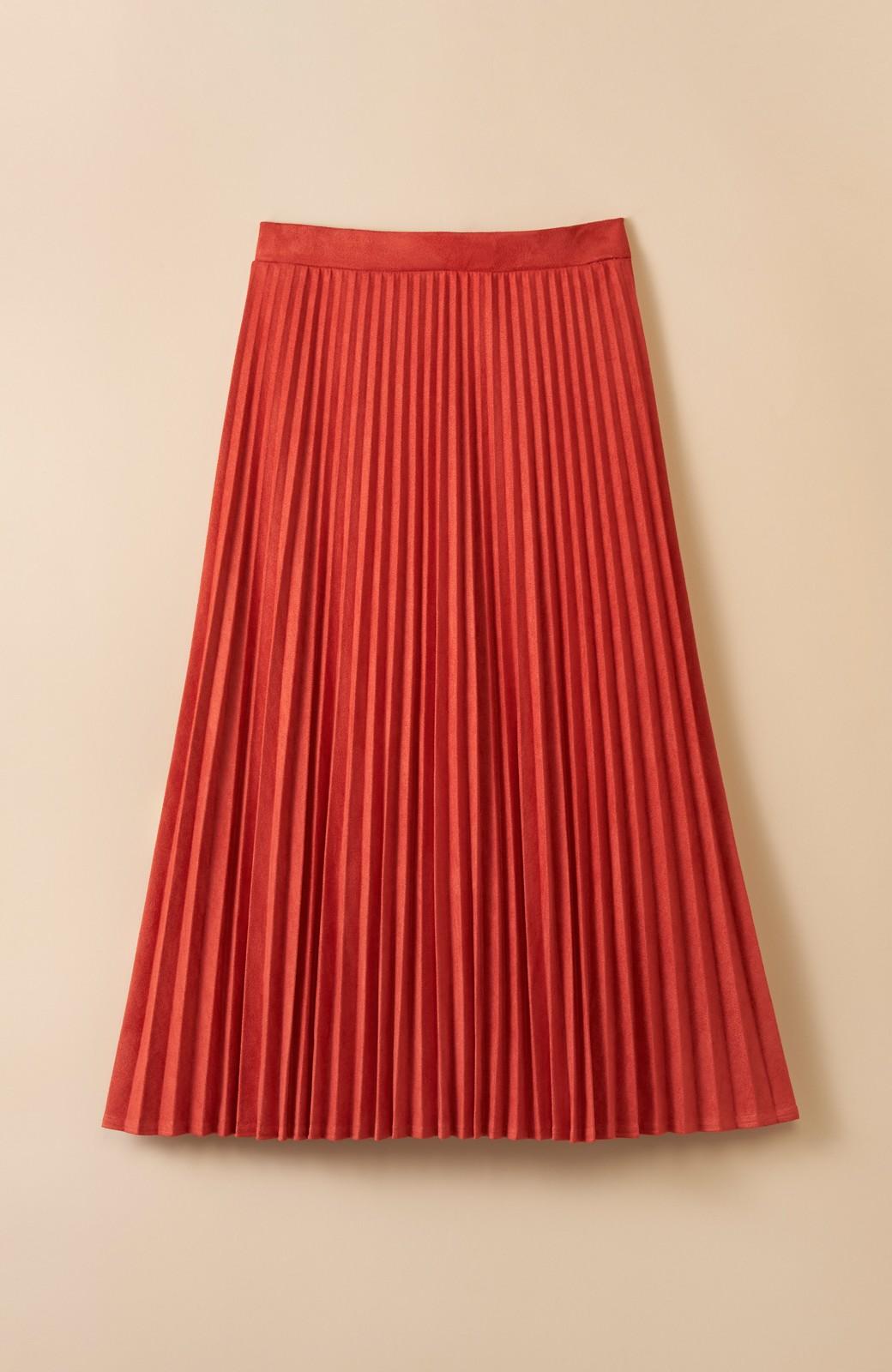 haco! 楽して女っぽい フェイクスエードのプリーツスカート  by que made me <オレンジ系その他>の商品写真1