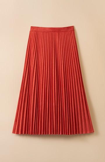 haco! 楽して女っぽい フェイクスエードのプリーツスカート  by que made me <オレンジ系その他>の商品写真