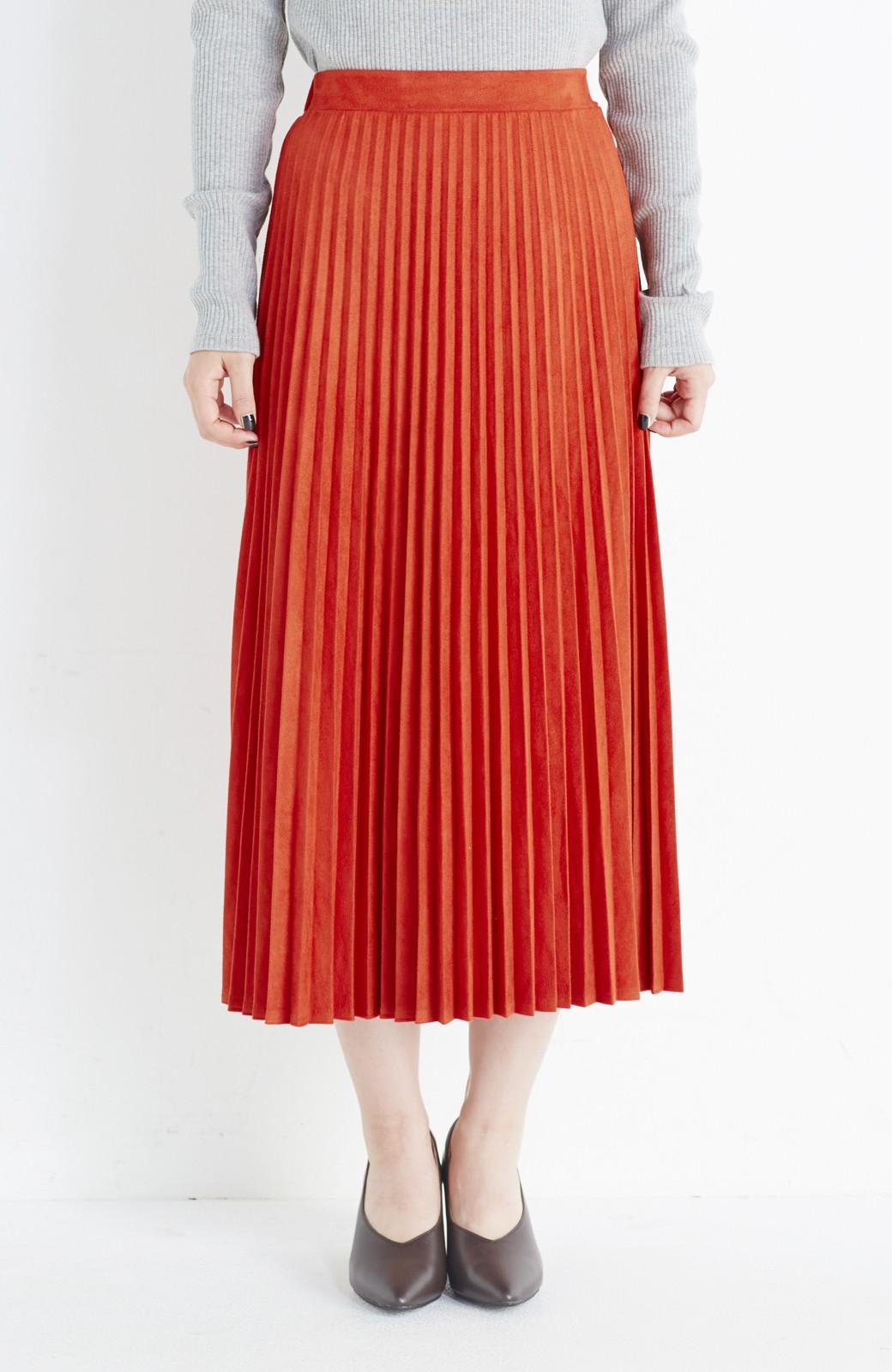haco! 楽して女っぽい フェイクスエードのプリーツスカート  by que made me <オレンジ系その他>の商品写真2
