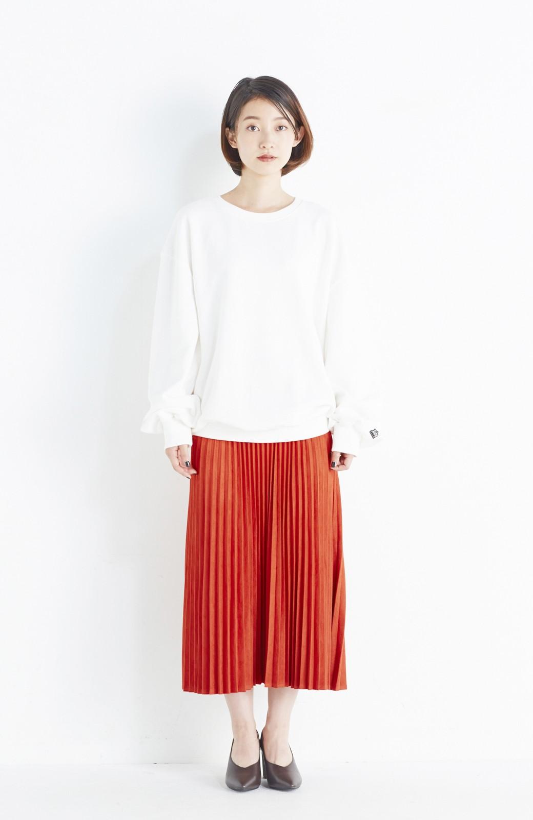 haco! 楽して女っぽい フェイクスエードのプリーツスカート  by que made me <オレンジ系その他>の商品写真6