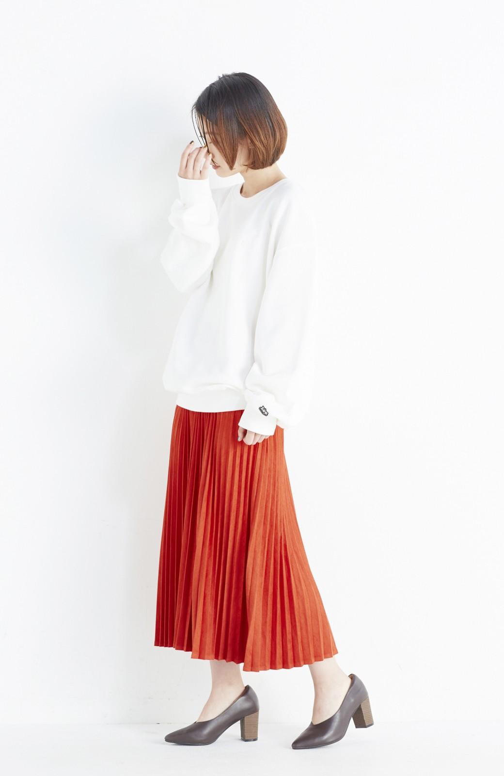 haco! 楽して女っぽい フェイクスエードのプリーツスカート  by que made me <オレンジ系その他>の商品写真7