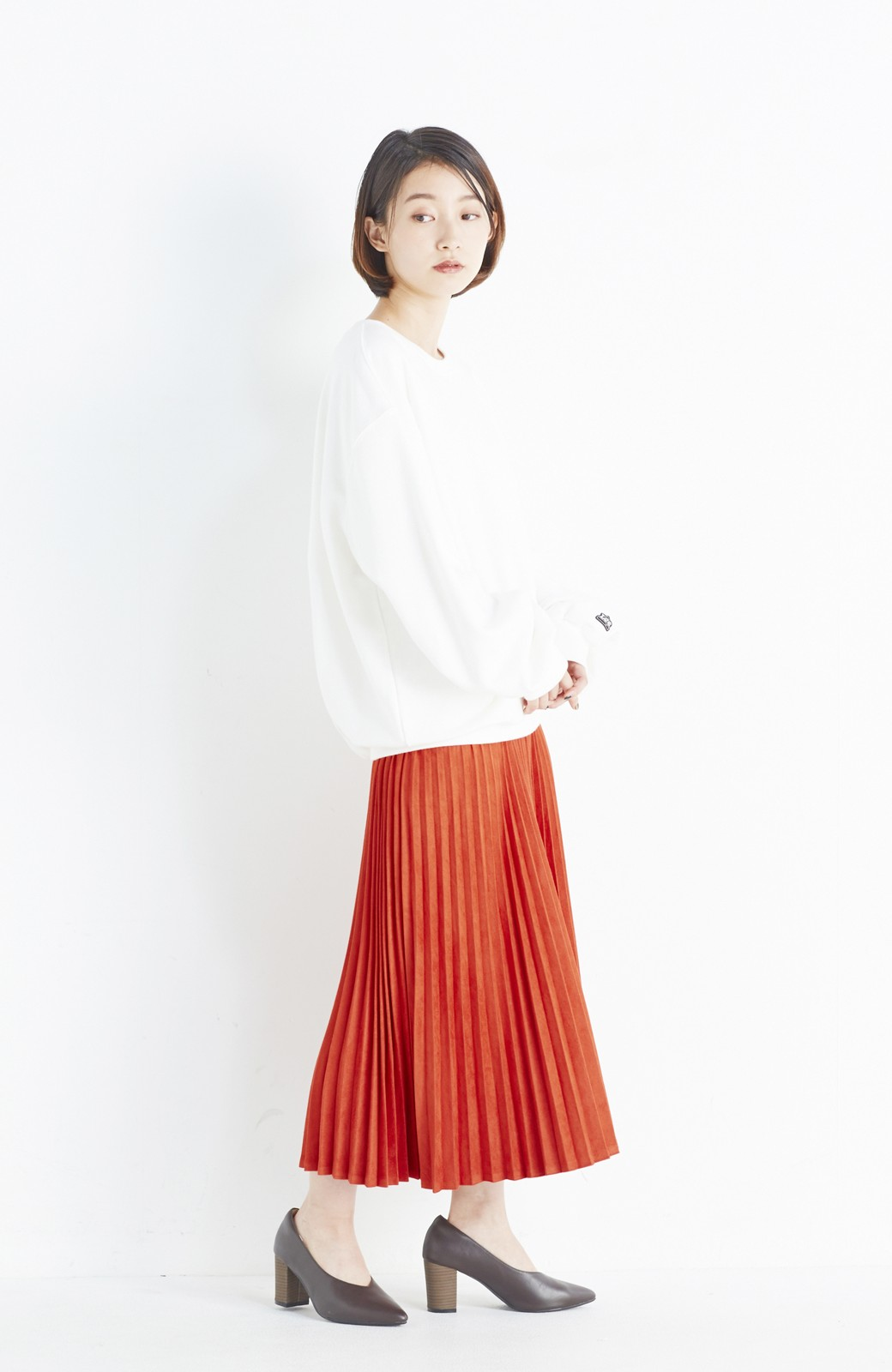haco! 楽して女っぽい フェイクスエードのプリーツスカート  by que made me <オレンジ系その他>の商品写真8