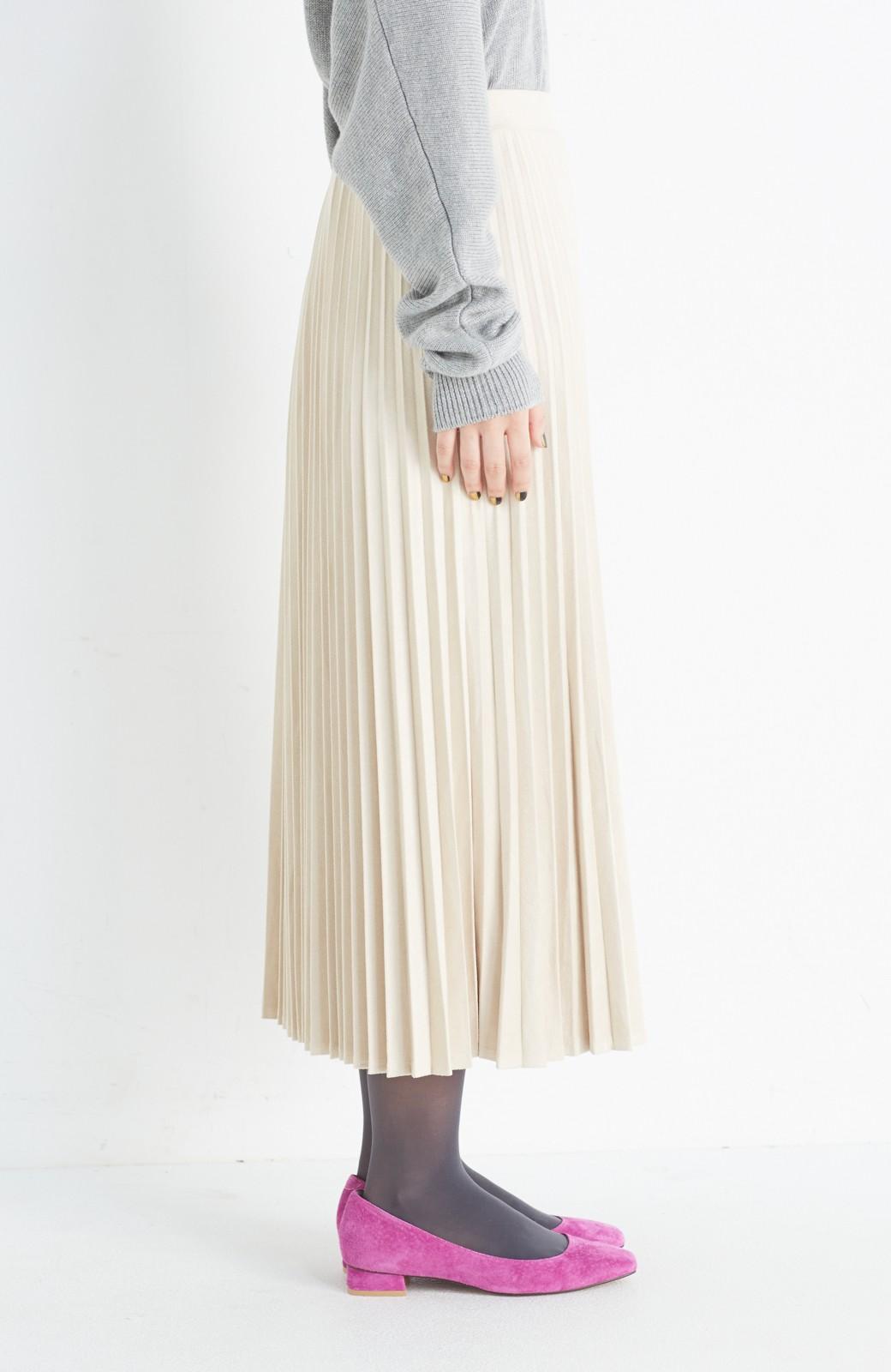 haco! 楽して女っぽい フェイクスエードのプリーツスカート  by que made me <ライトベージュ>の商品写真4