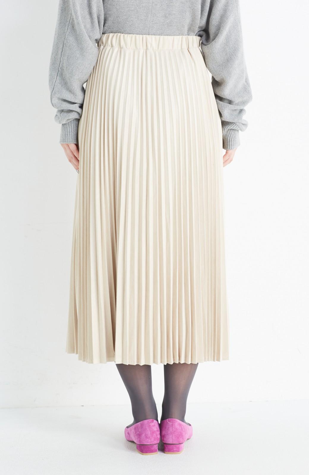 haco! 楽して女っぽい フェイクスエードのプリーツスカート  by que made me <ライトベージュ>の商品写真5