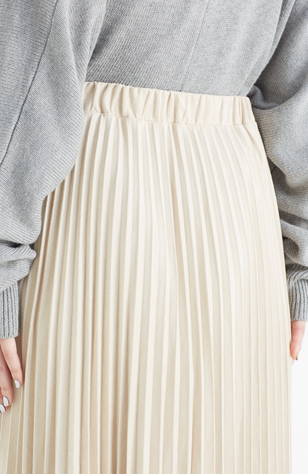 haco! 楽して女っぽい フェイクスエードのプリーツスカート  by que made me <ライトベージュ>の商品写真6
