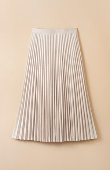 haco! 楽して女っぽい フェイクスエードのプリーツスカート  by que made me <ライトベージュ>の商品写真