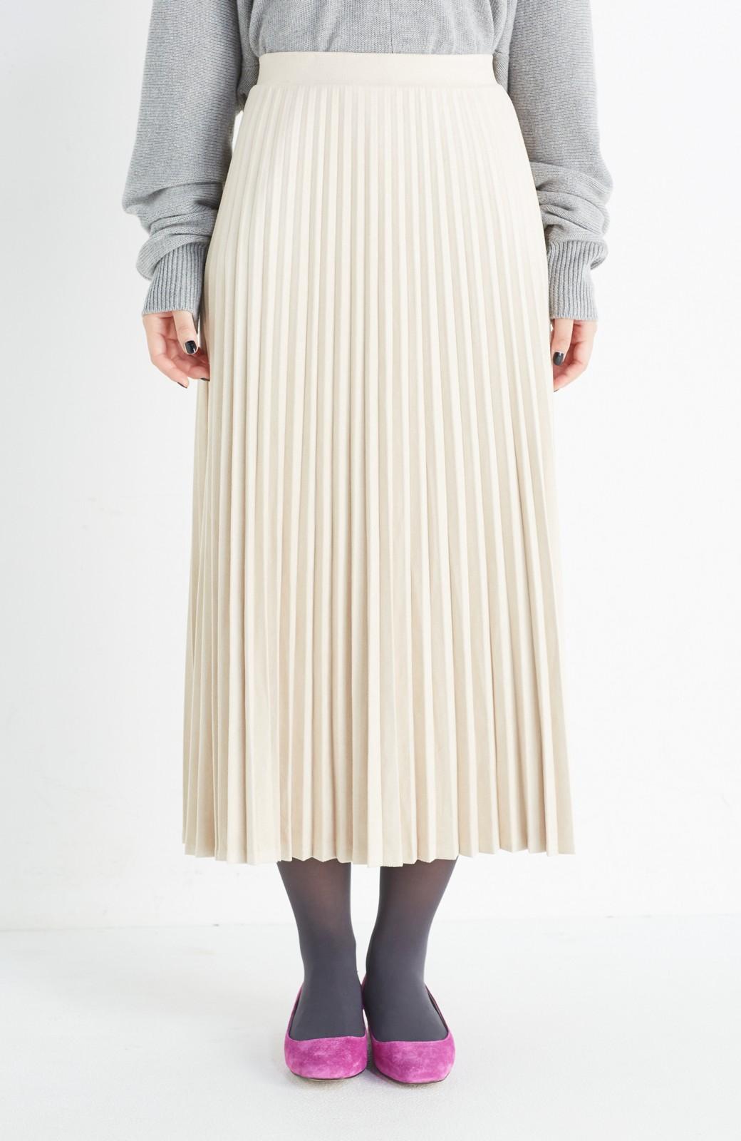 haco! 楽して女っぽい フェイクスエードのプリーツスカート  by que made me <ライトベージュ>の商品写真2