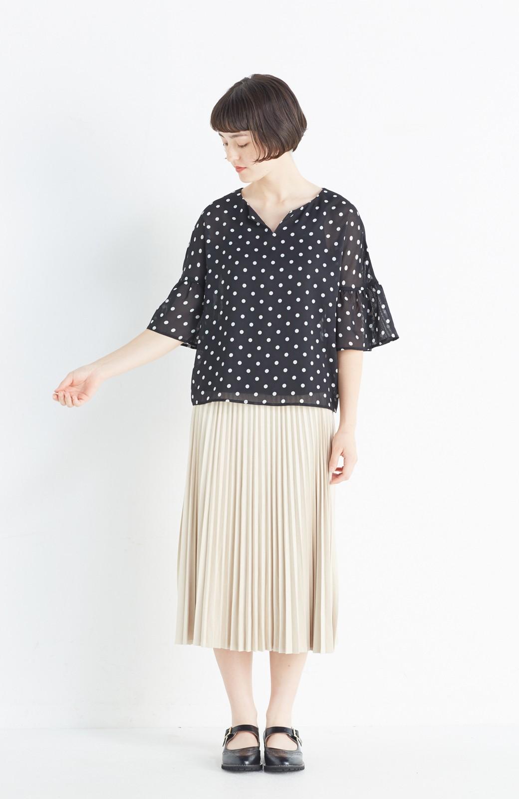 haco! 楽して女っぽい フェイクスエードのプリーツスカート  by que made me <ライトベージュ>の商品写真9