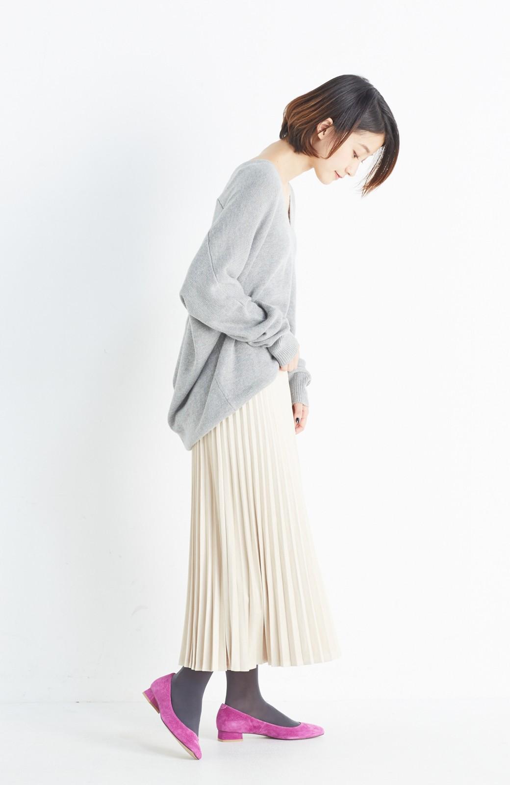 haco! 楽して女っぽい フェイクスエードのプリーツスカート  by que made me <ライトベージュ>の商品写真12