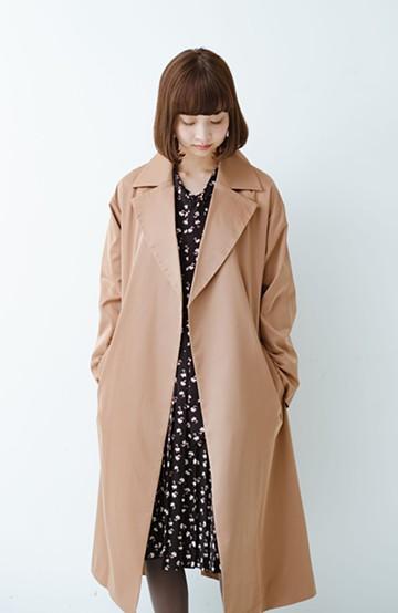 haco! パッと着て女っぽい きれいめ素材のラップコート <ブラウン>の商品写真