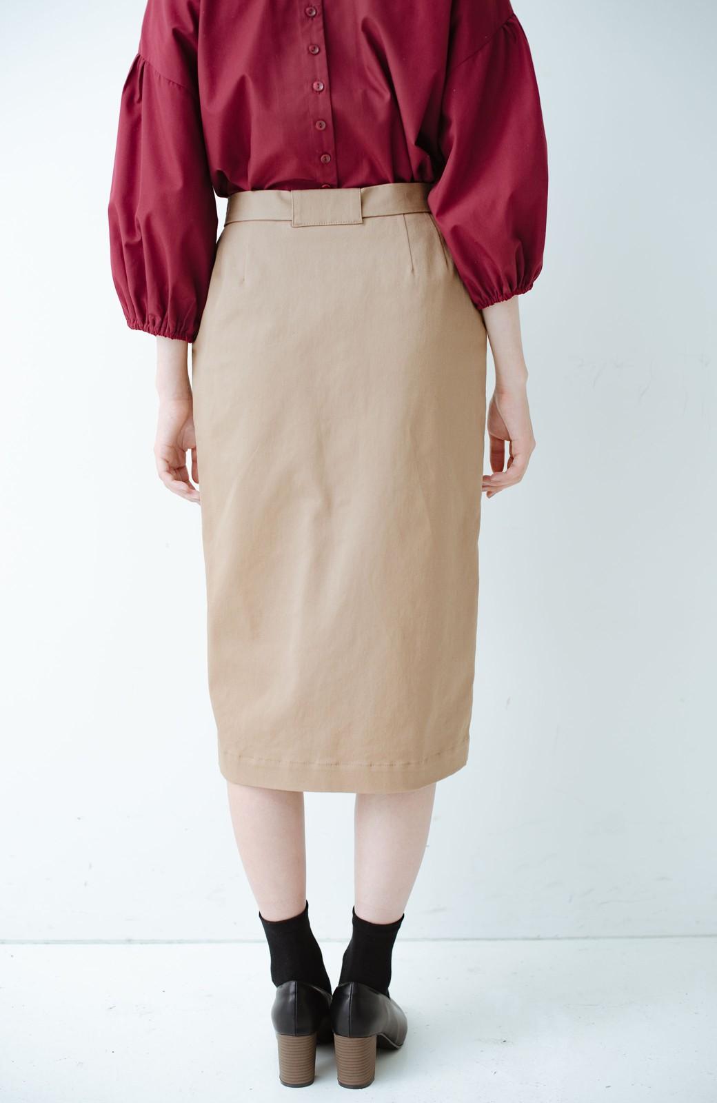haco! パッと着るだけで女らしくてかっこいい ラップ風ストレッチスカート by que made me <ベージュ>の商品写真5