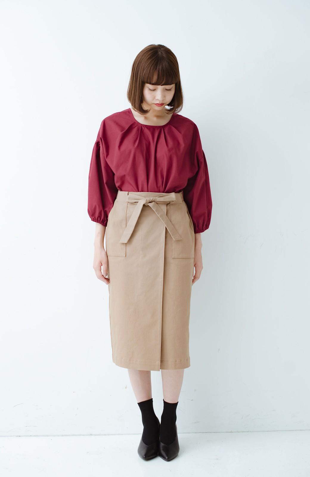haco! パッと着るだけで女らしくてかっこいい ラップ風ストレッチスカート by que made me <ベージュ>の商品写真8