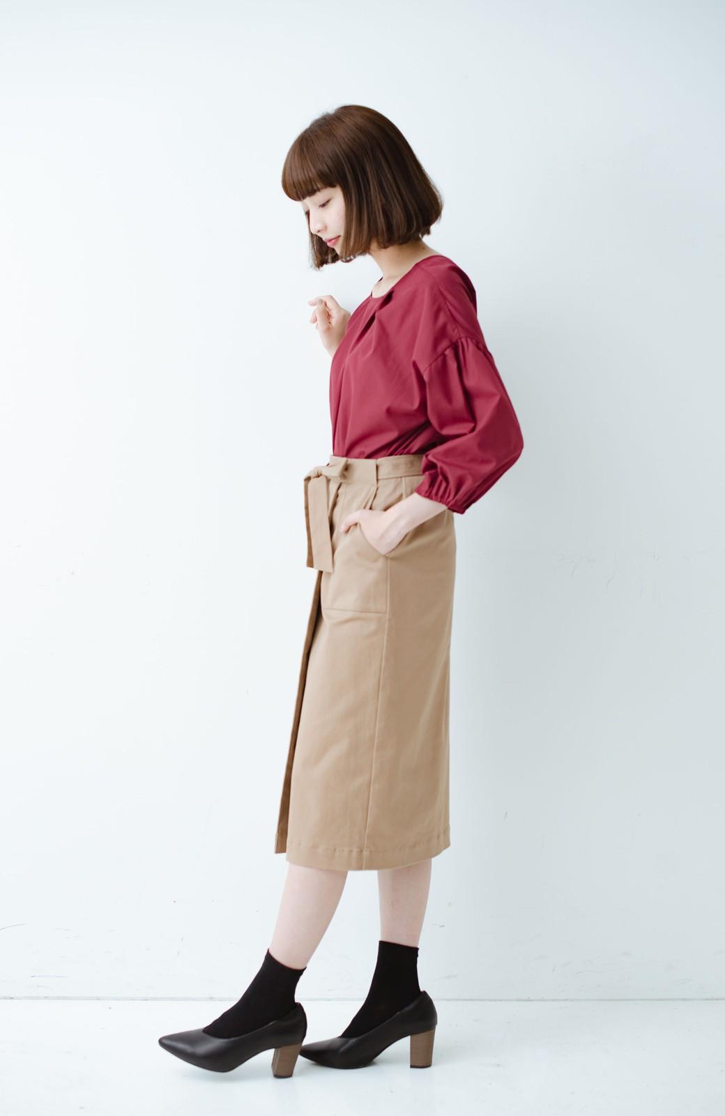 haco! パッと着るだけで女らしくてかっこいい ラップ風ストレッチスカート by que made me <ベージュ>の商品写真9