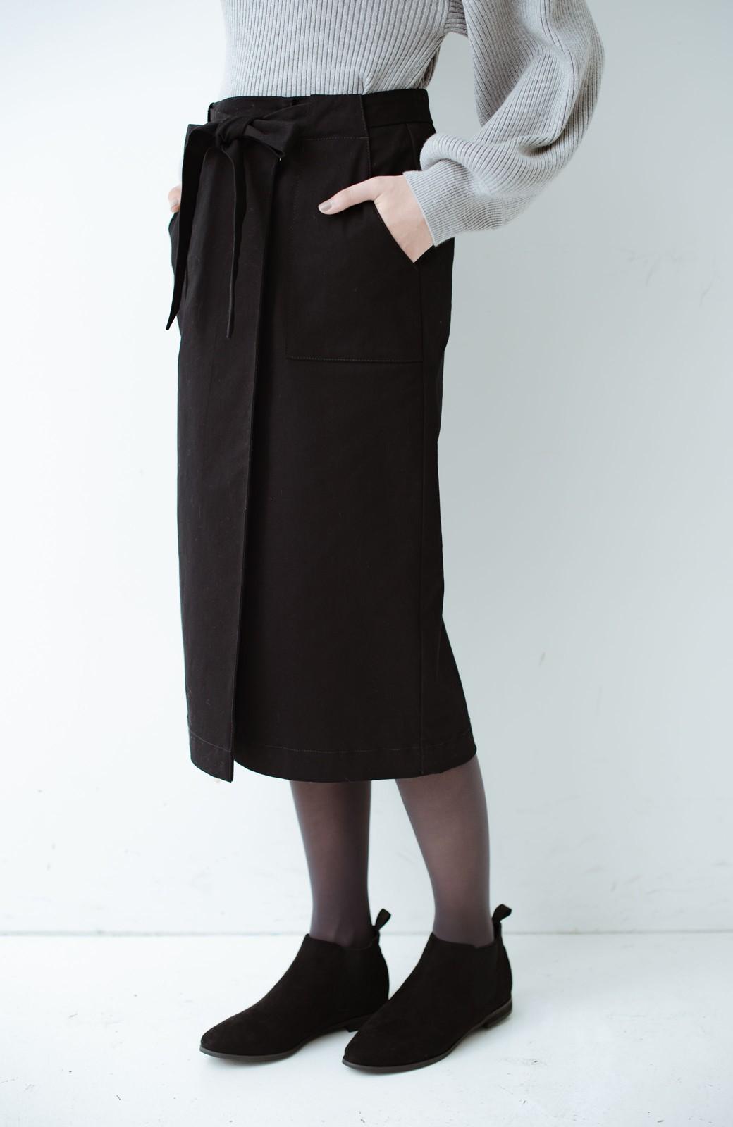 haco! パッと着るだけで女らしくてかっこいい ラップ風ストレッチスカート by que made me <ブラック>の商品写真4