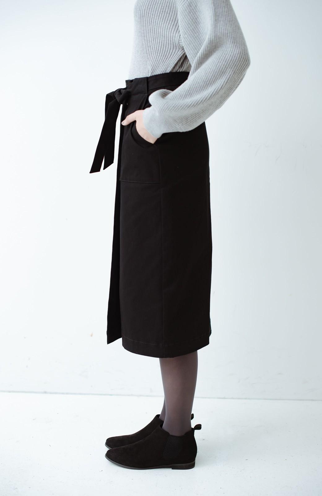 haco! パッと着るだけで女らしくてかっこいい ラップ風ストレッチスカート by que made me <ブラック>の商品写真5