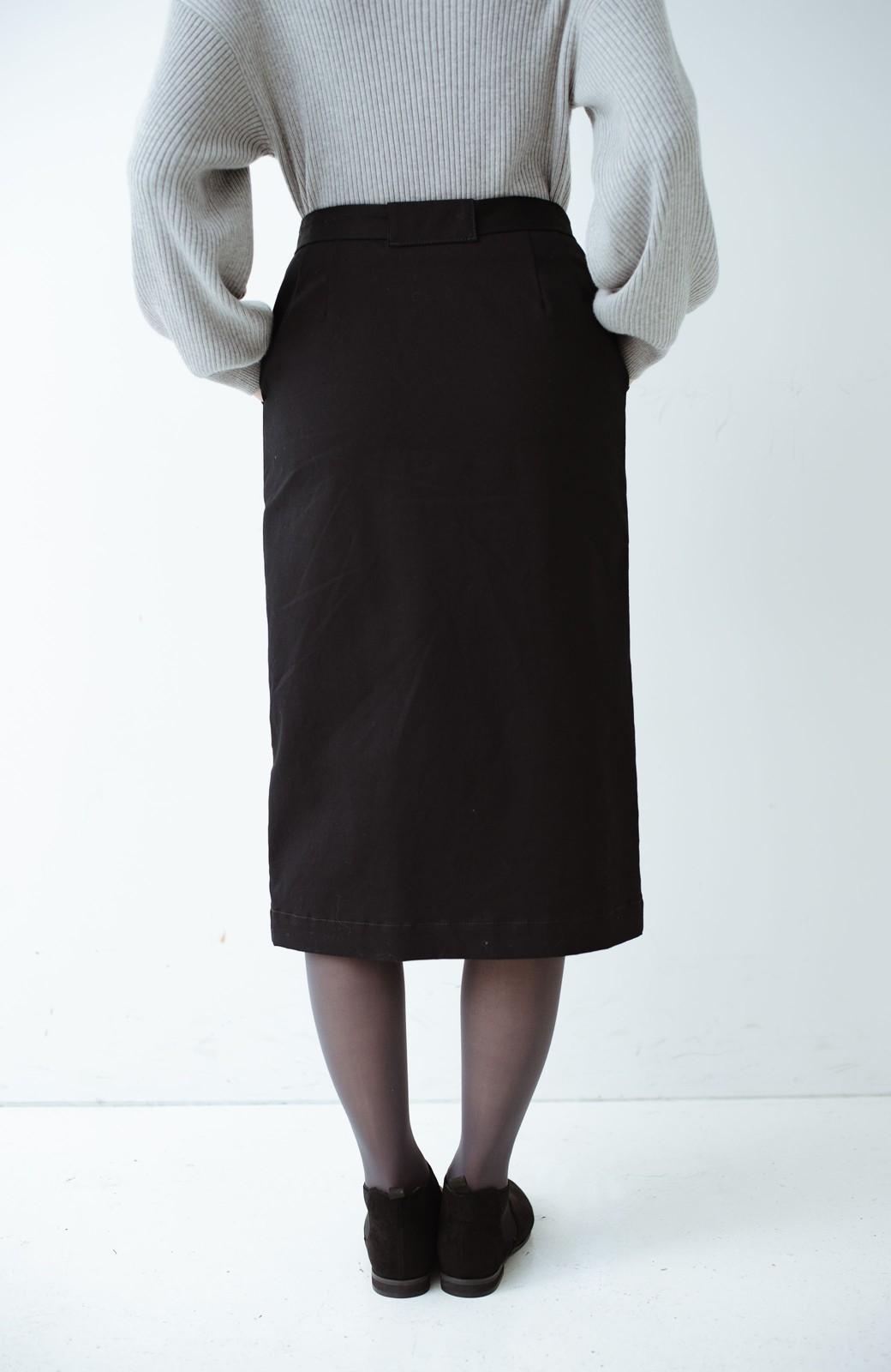 haco! パッと着るだけで女らしくてかっこいい ラップ風ストレッチスカート by que made me <ブラック>の商品写真6