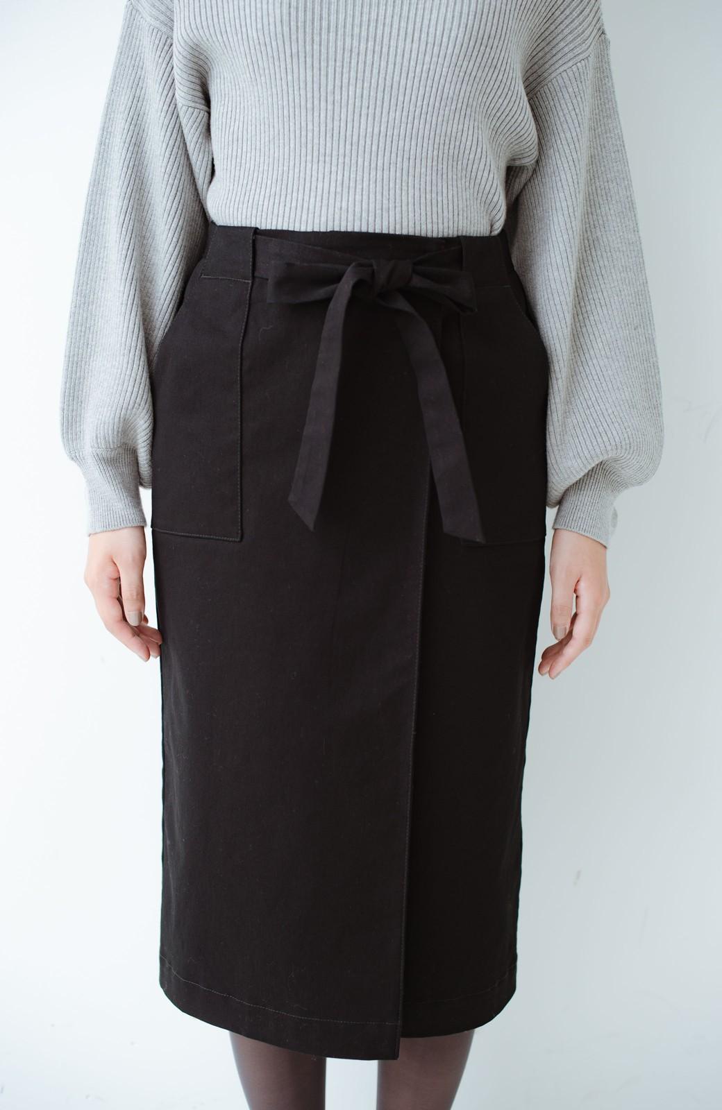 haco! パッと着るだけで女らしくてかっこいい ラップ風ストレッチスカート by que made me <ブラック>の商品写真7