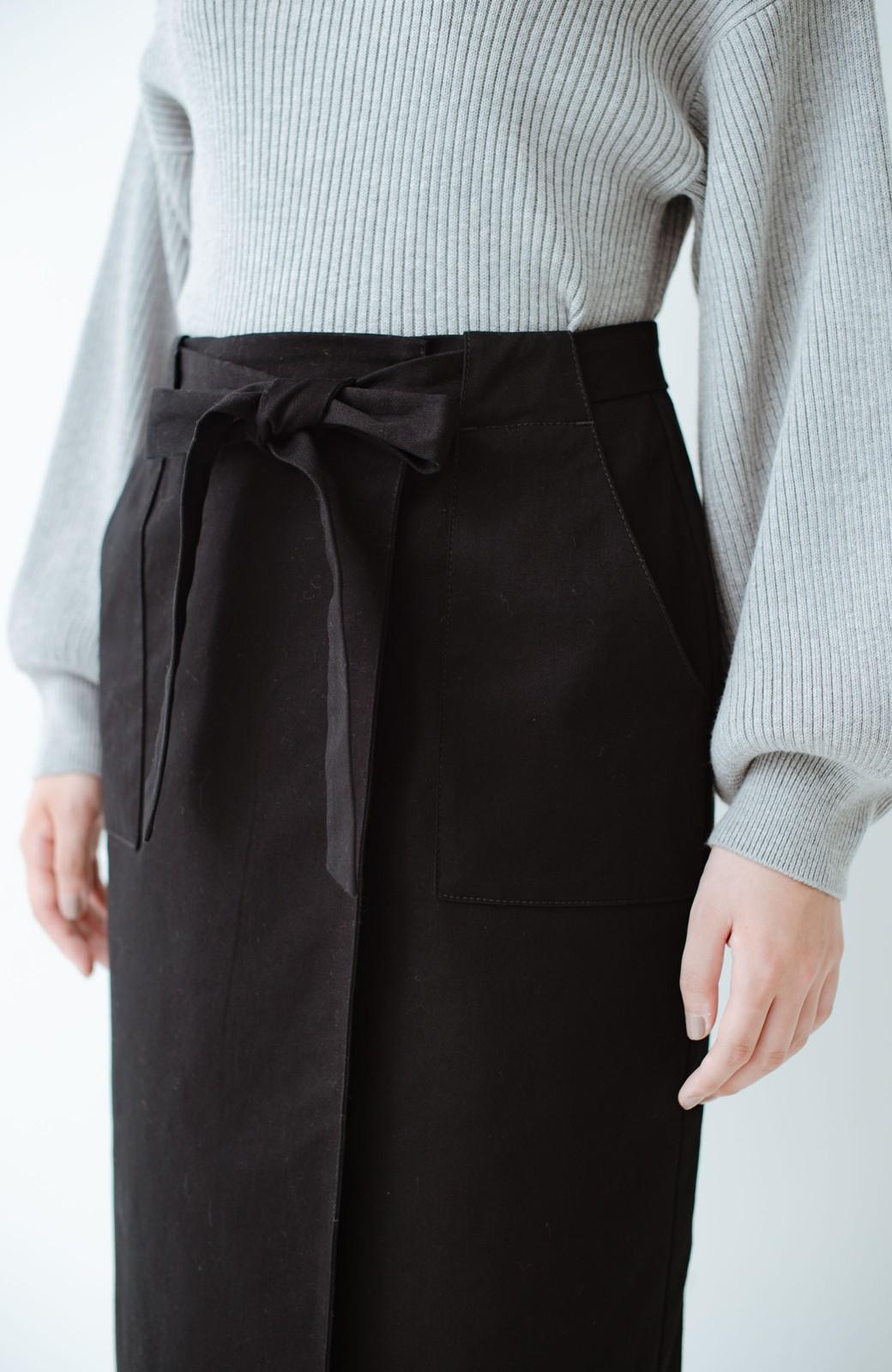 haco! パッと着るだけで女らしくてかっこいい ラップ風ストレッチスカート by que made me <ブラック>の商品写真8