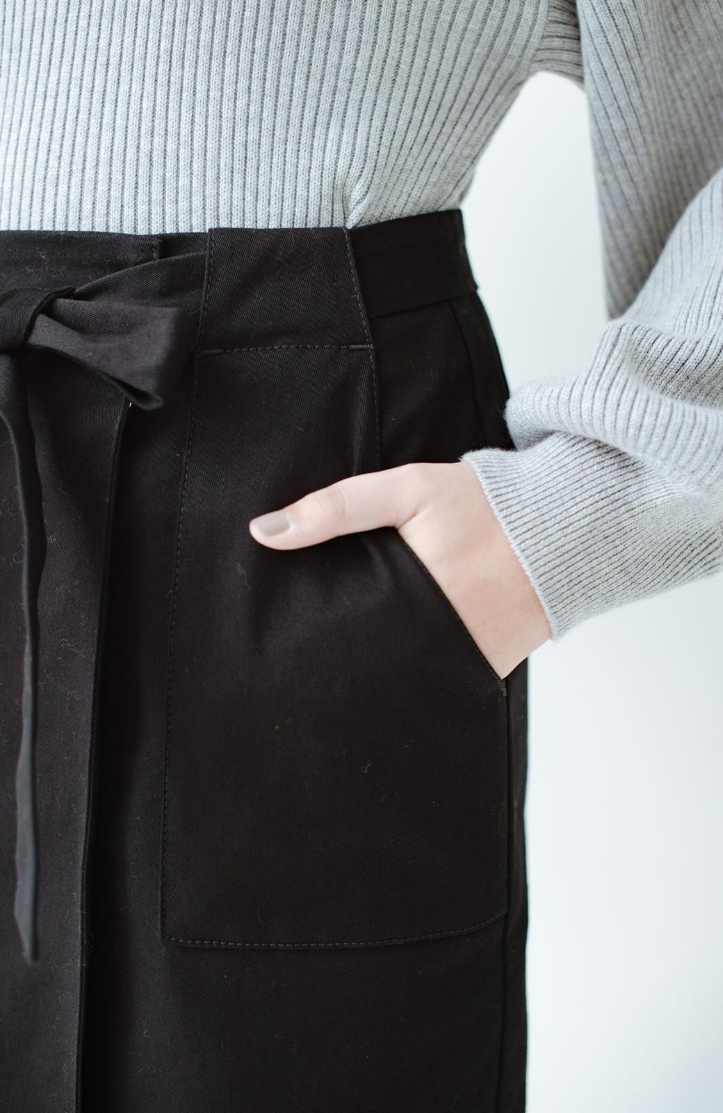 haco! パッと着るだけで女らしくてかっこいい ラップ風ストレッチスカート by que made me <ブラック>の商品写真9