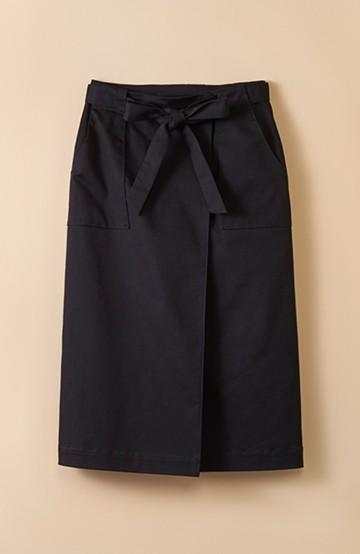 haco! パッと着るだけで女らしくてかっこいい ラップ風ストレッチスカート by que made me <ブラック>の商品写真