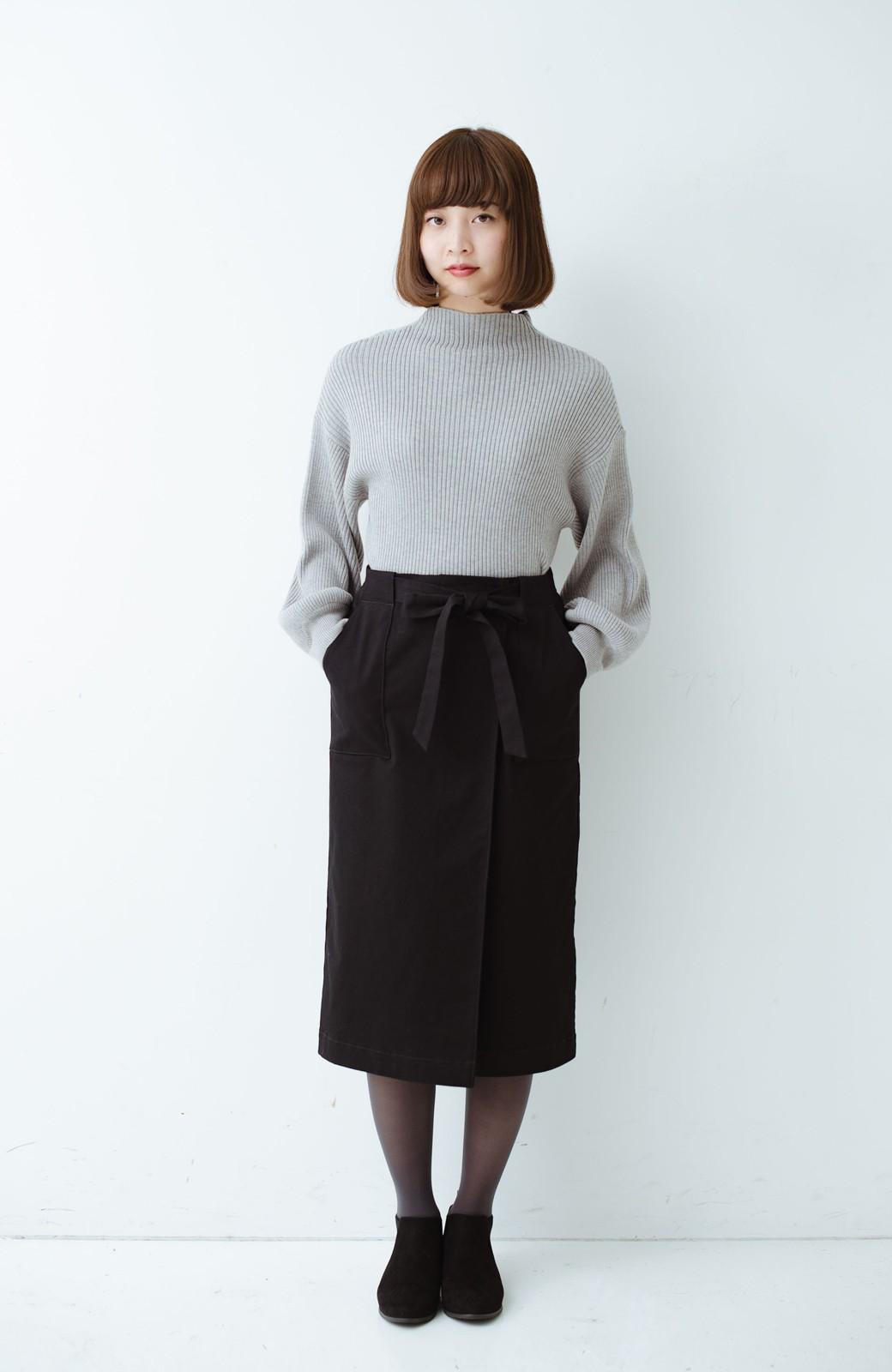 haco! パッと着るだけで女らしくてかっこいい ラップ風ストレッチスカート by que made me <ブラック>の商品写真10