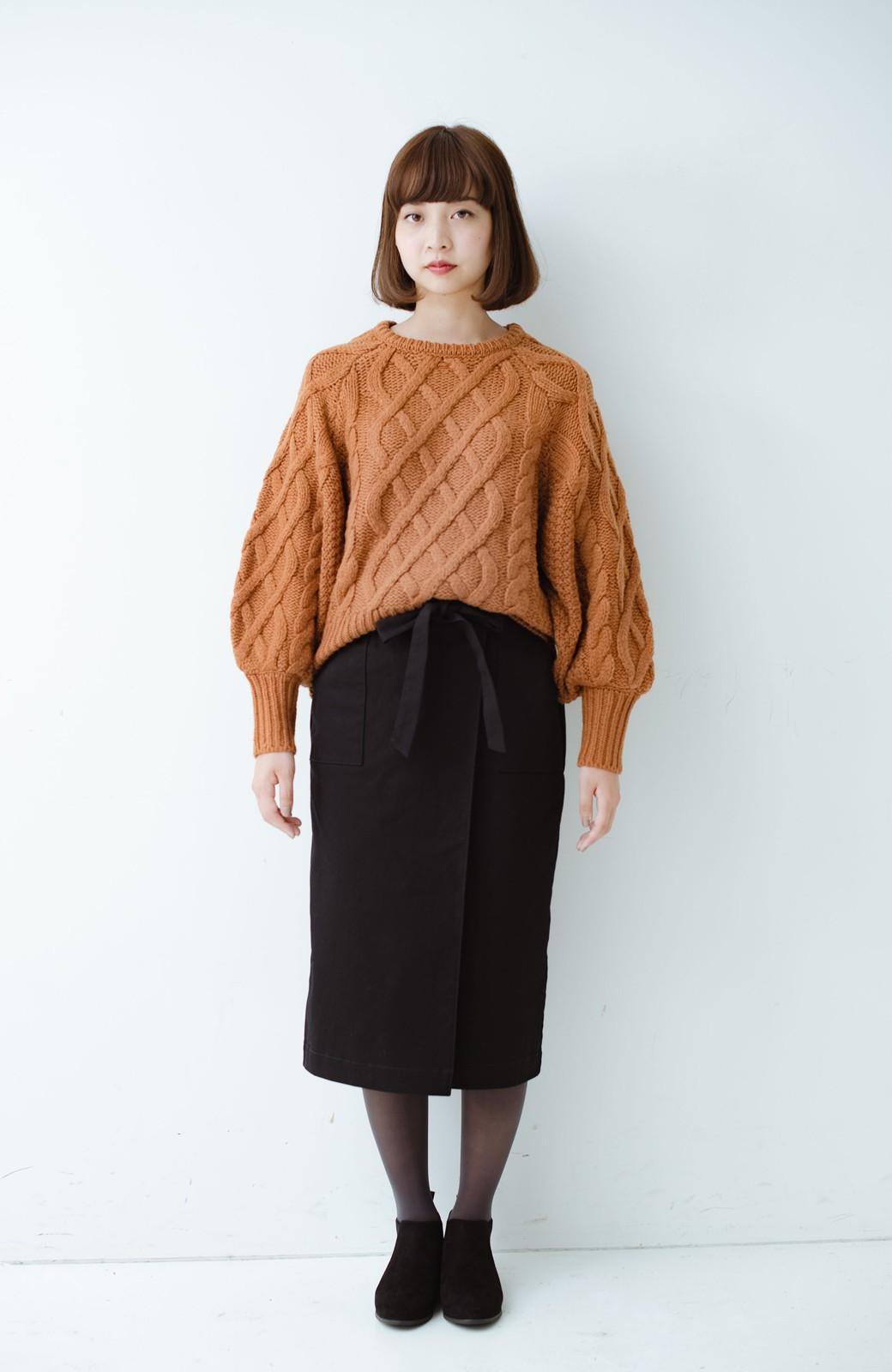 haco! パッと着るだけで女らしくてかっこいい ラップ風ストレッチスカート by que made me <ブラック>の商品写真11