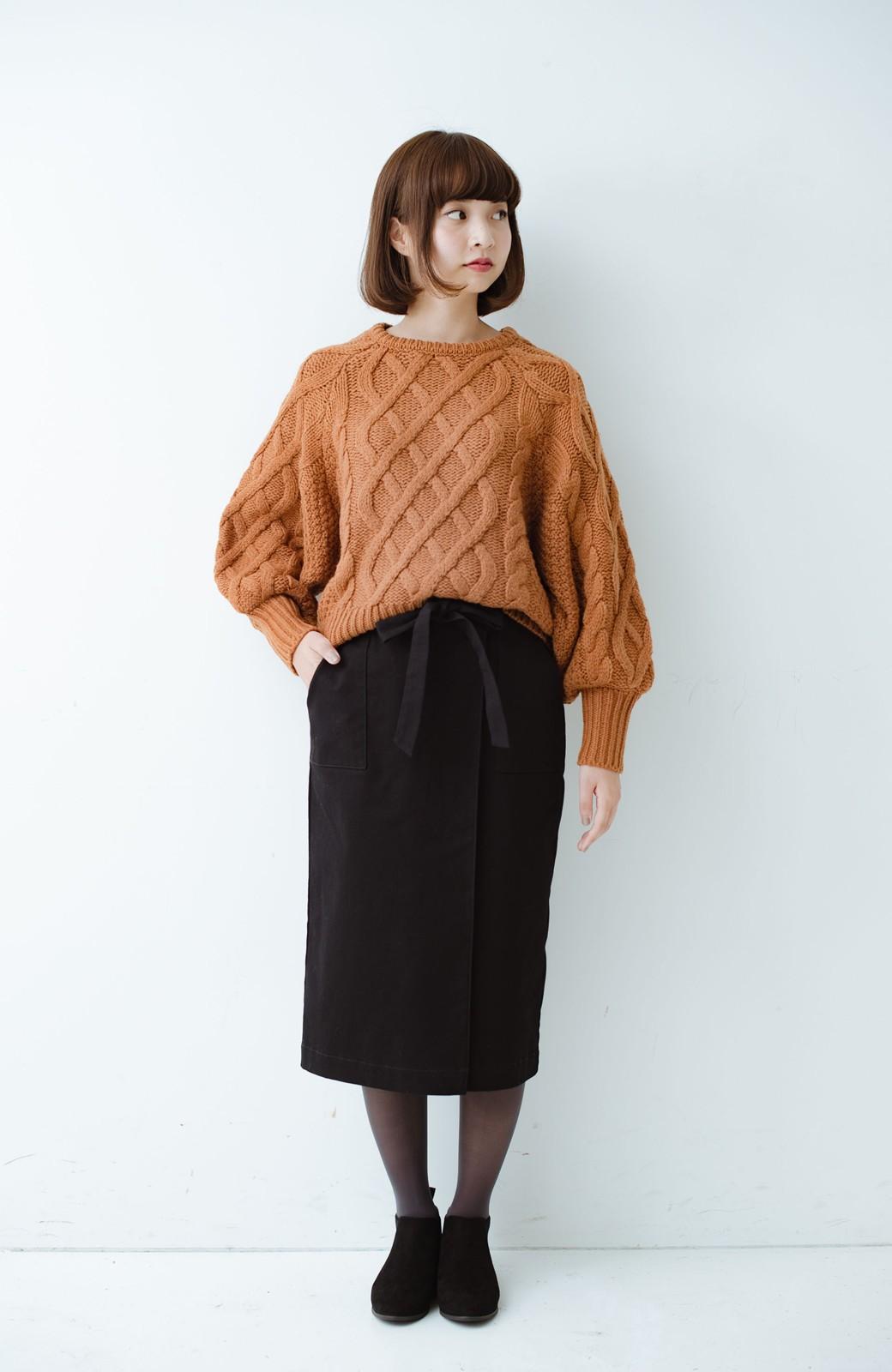 haco! パッと着るだけで女らしくてかっこいい ラップ風ストレッチスカート by que made me <ブラック>の商品写真12