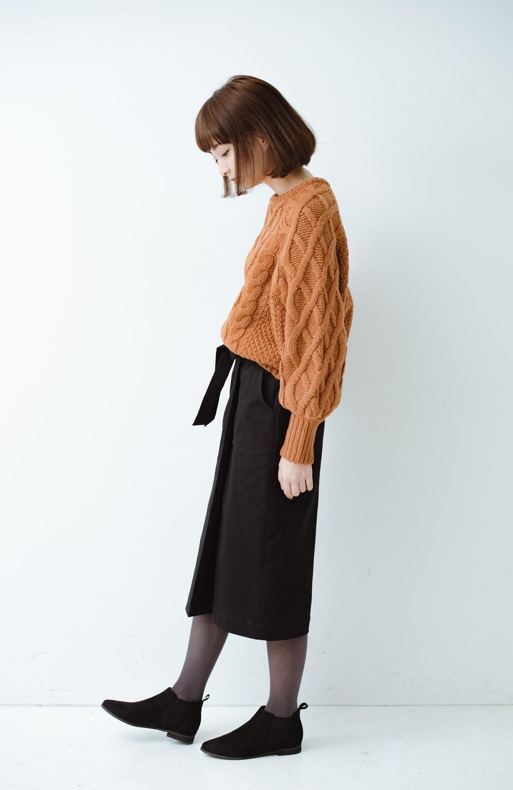 haco! パッと着るだけで女らしくてかっこいい ラップ風ストレッチスカート by que made me <ブラック>の商品写真13