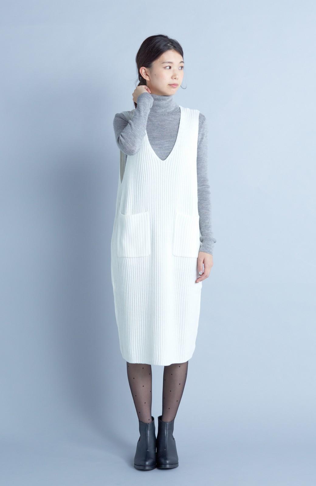 haco! うさぎシルエットのアンチピリングニットジャンパースカート <オフホワイト>の商品写真1