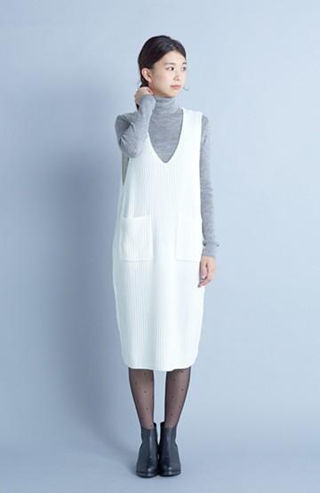 haco! うさぎシルエットのアンチピリングニットジャンパースカート <オフホワイト>の商品写真
