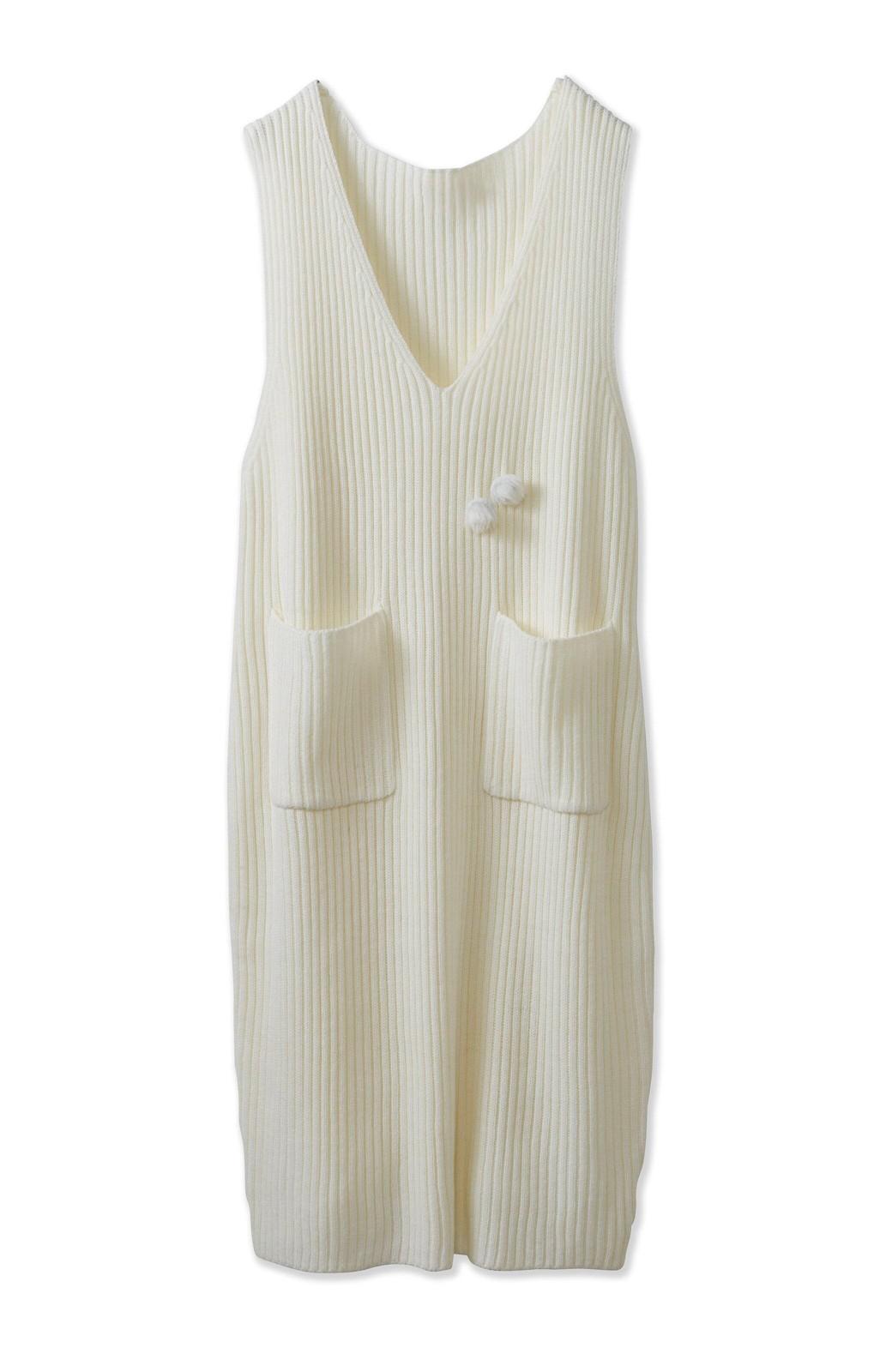 haco! うさぎシルエットのアンチピリングニットジャンパースカート <オフホワイト>の商品写真2