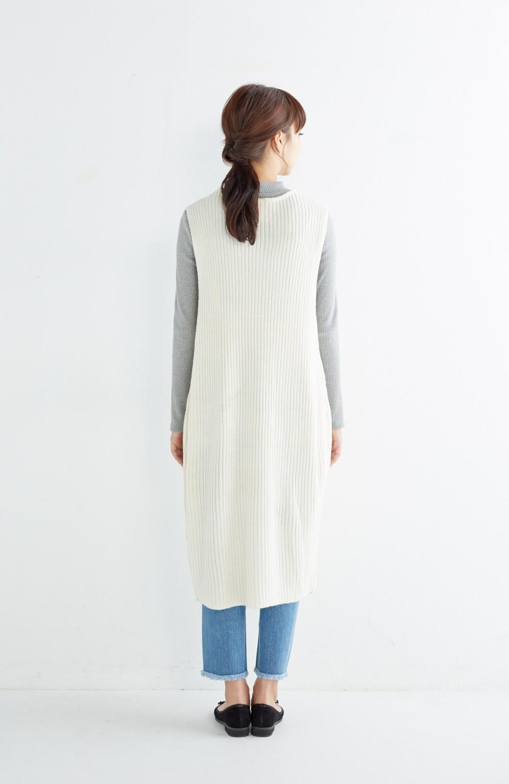 haco! うさぎシルエットのアンチピリングニットジャンパースカート <オフホワイト>の商品写真10